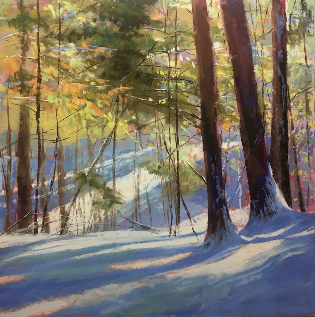 "Jeanne Rosier Smith, ""Winter Dance,"" pastel,18 x18in. With every passing winter I fall more in love with the beauty of snow. If I could not paint it, I don't think I could live here. When the snow gets to be too much, it's time to paint more waves!"