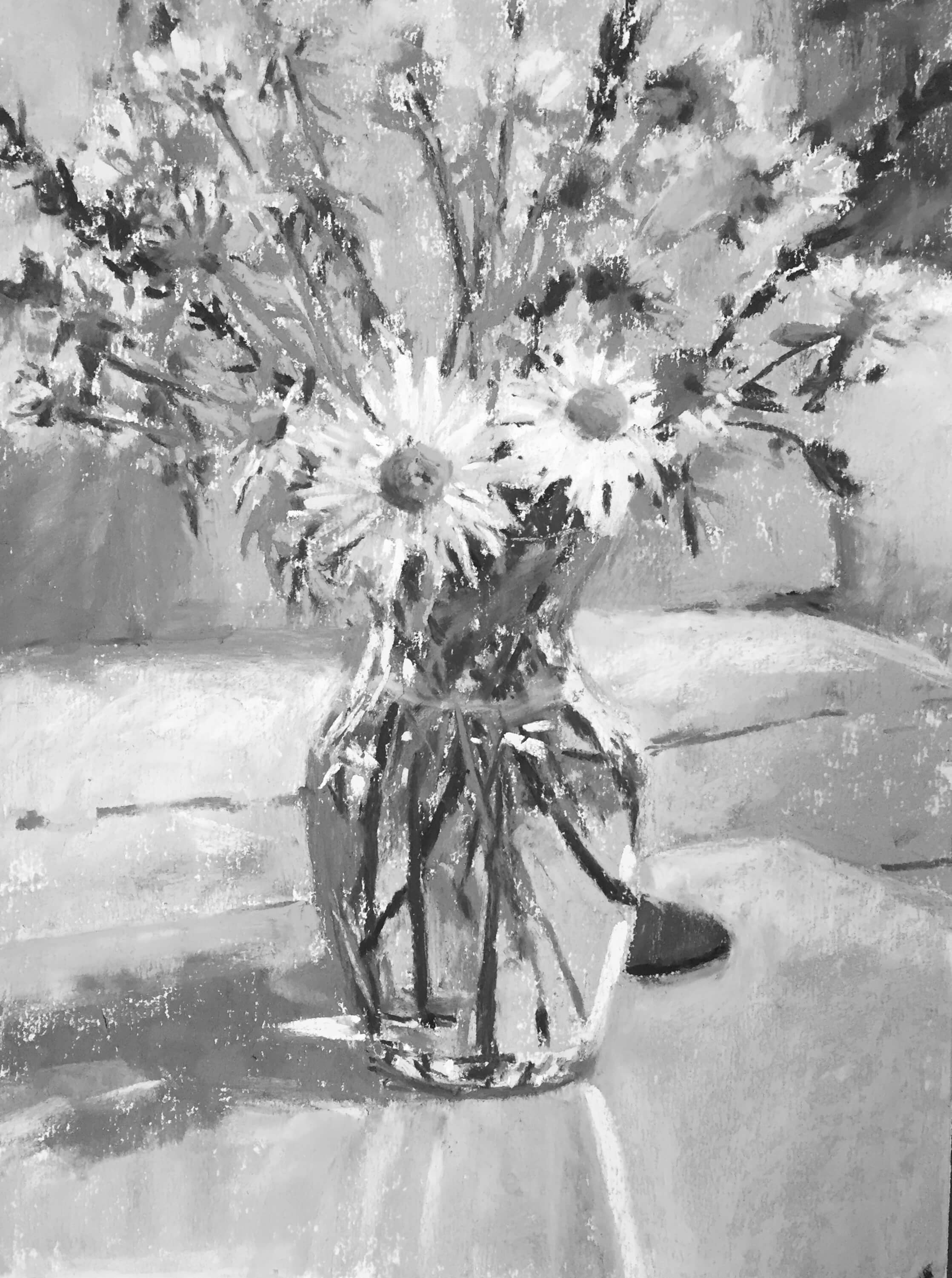 "And just because, the final in black and white. Gail Sibley, ""Summer Flowers in a Vase,"" Unison pastels on UART 400 grade paper, 12 x 9 in."
