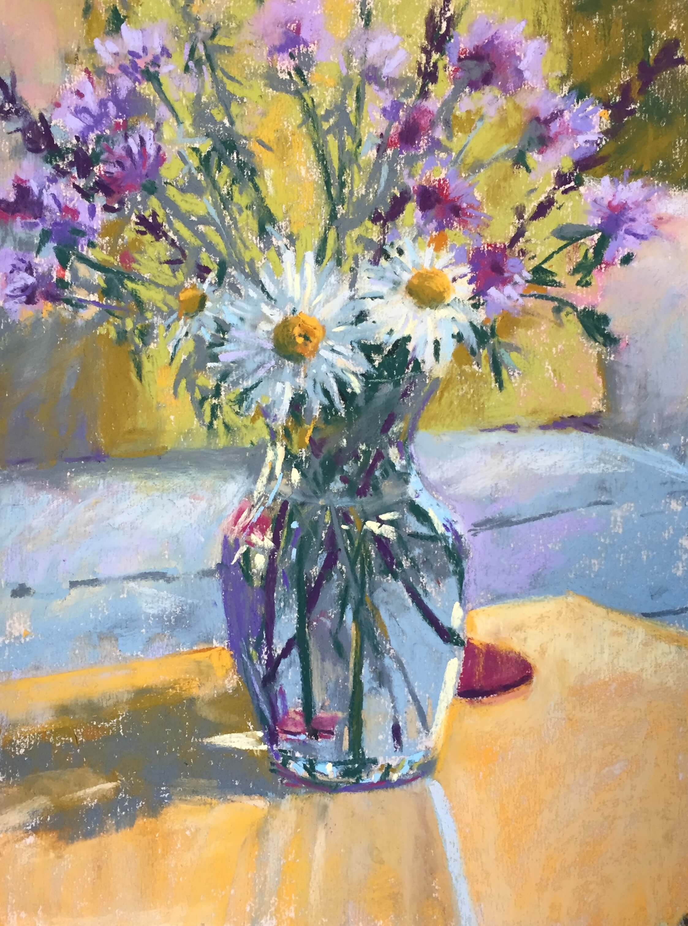 """Gail Sibley, """"Summer Flowers in a Vase,"""" Unison pastels on UART 400 grade paper, 12 x 9 in. Final detailing particularly on flowers, and darkened area left of the pillow."""