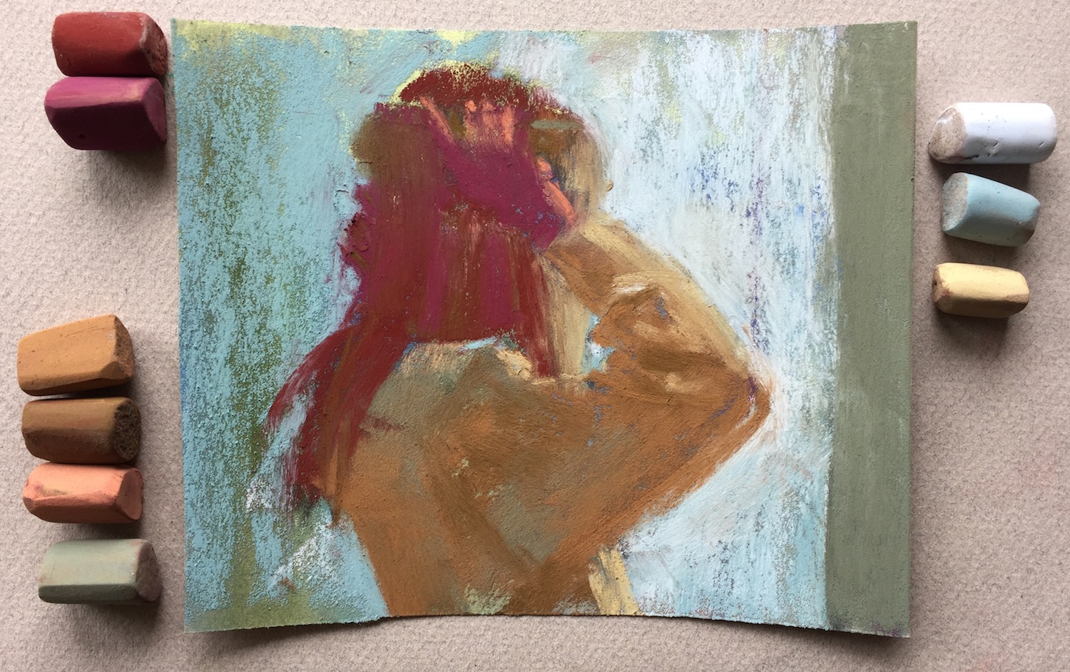 "Nine Unison pastels used in this 10-minute piece. Gail Sibley, ""Hair Care,"" pastel on UART 320 paper, 5 x 6in"