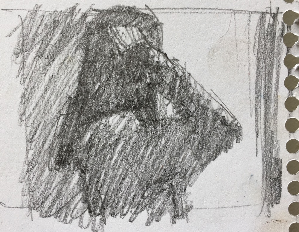 10-minute painting: A quick thumbnail in pencil to determine composition (you can see I cropped it) and choose three main values and how to situate them.