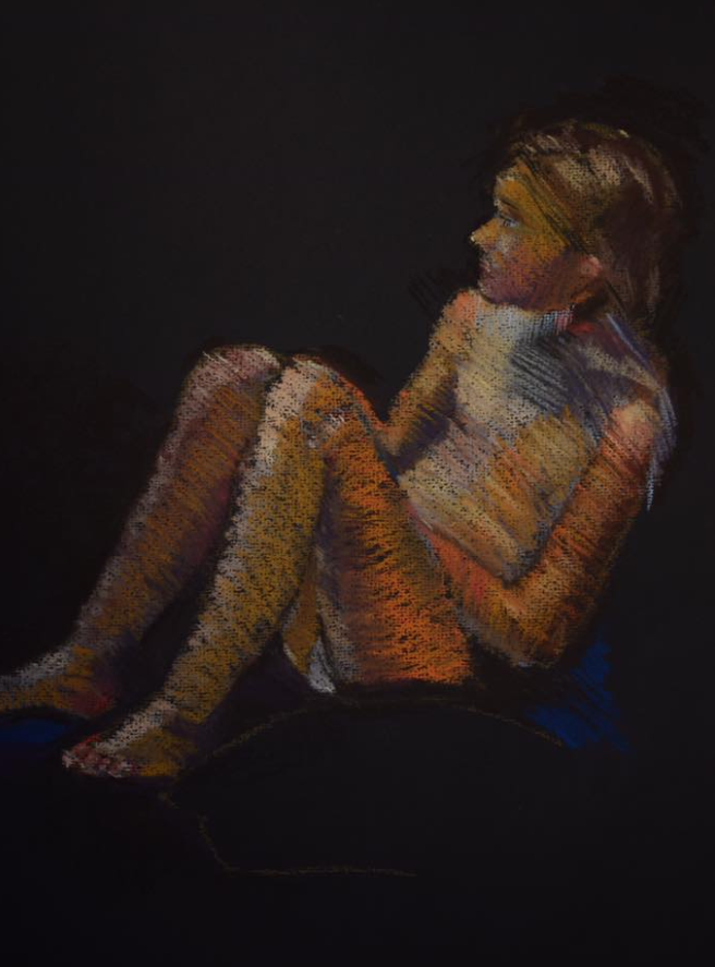 "July's Uncommon Pastel Paintings: Elena Degenhardt, ""Heat,"" Unison pastels on black Winsor and Newton 160gsm paper, 16 1/2 x 11 3/4 in"