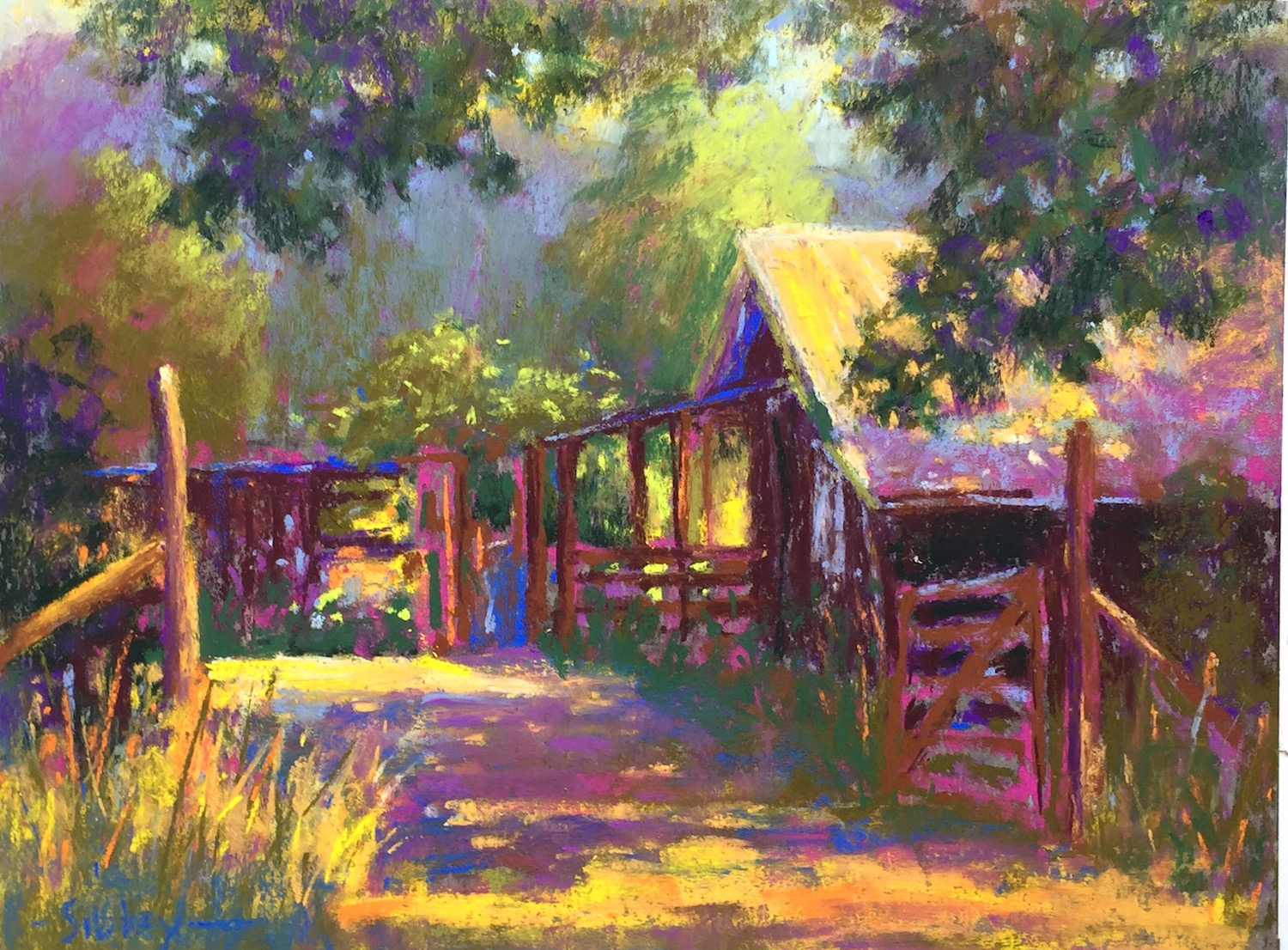 "Tweaking my plein air painting in the studio: Gail Sibley, ""Shepherd Hills Hideaway,"" Great American pastels on Wallis Belgian Mist mounted paper, 9 x 12 in. Available."