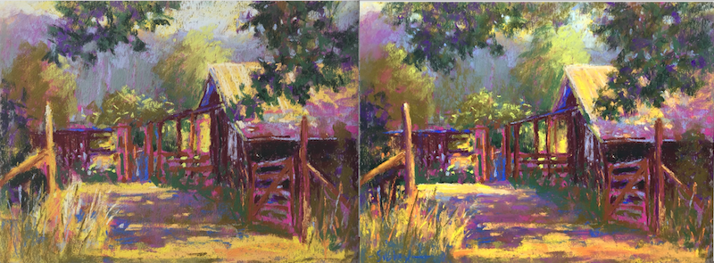 Before and after tweaking my plein air painting!