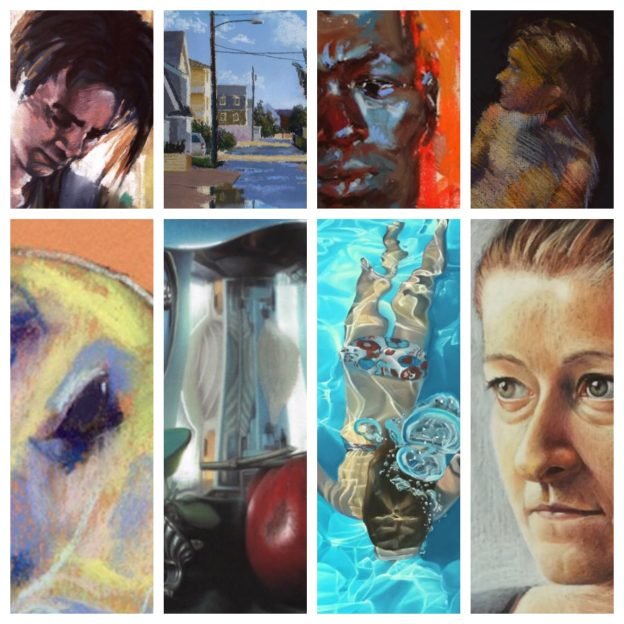 July's uncommon pastel paintings: collage of details of eight of the paintings