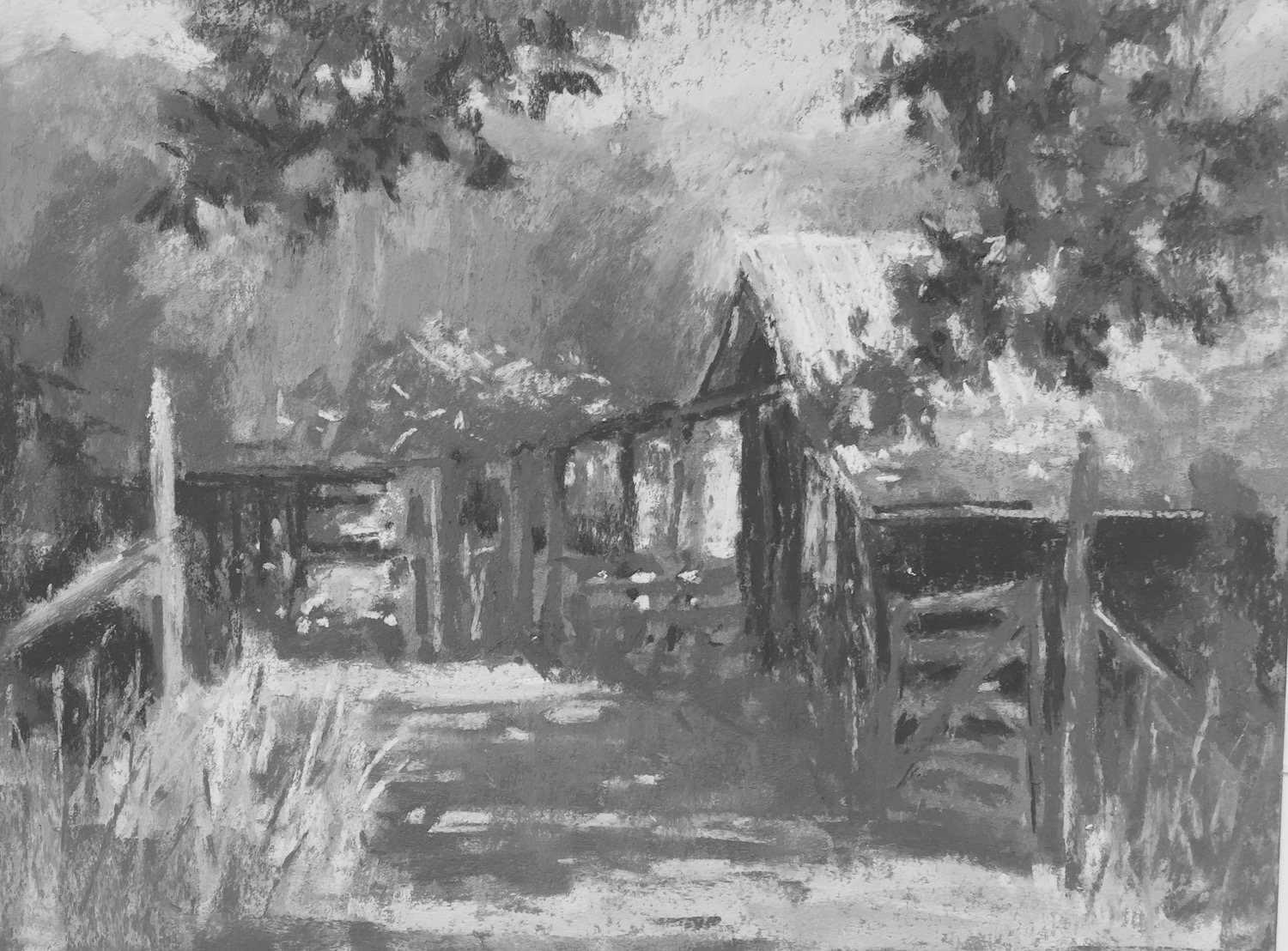 Tweaking a plein air painting in the studio: And here it is in black and white. I feel I've stuck pretty much to the thumbnail value design which has kept me on track along the way.
