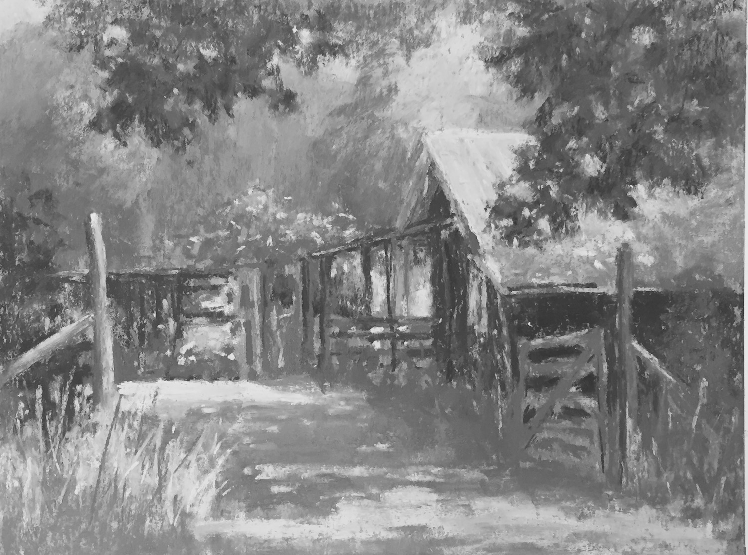 Tweaking my plein air painting in the studio: And just because, here's the black and white version