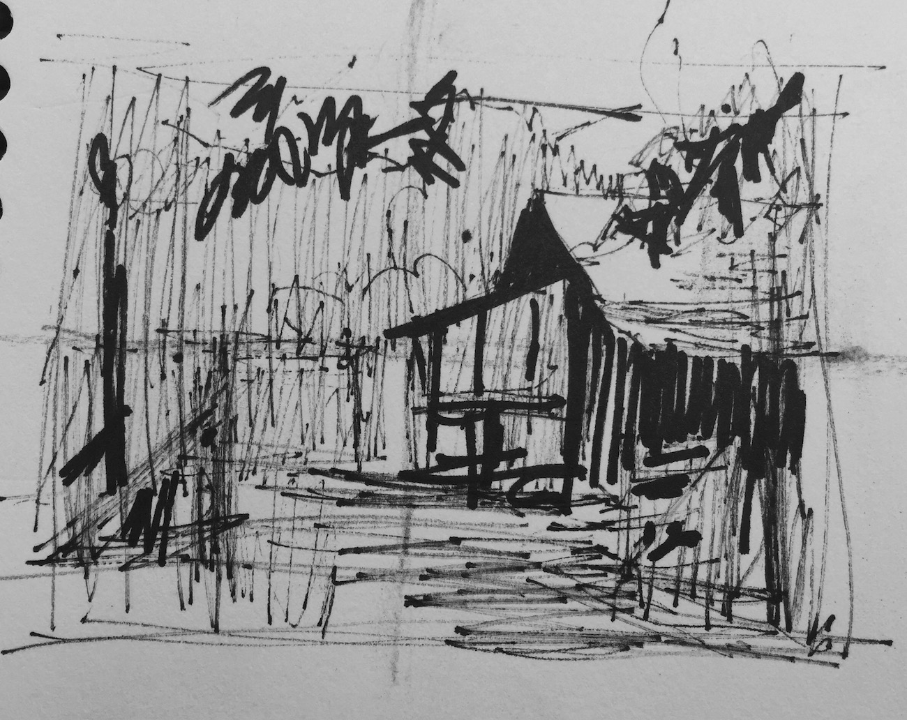 Tweaking a plein air painting in the studio: My pen was drying up but once I honed in on what it was I wanted to paint, there was enough ink to show three values.