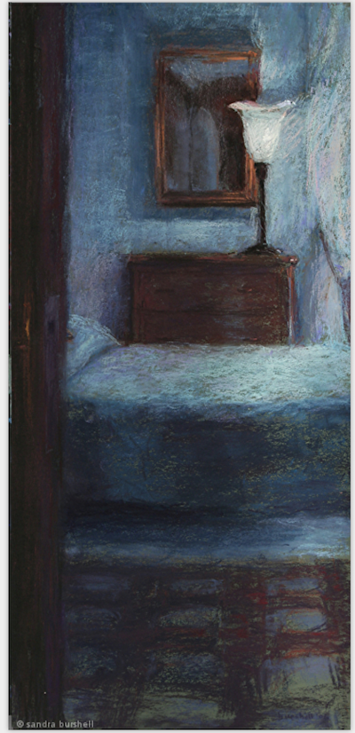 """Sandra Burshell, """"Pension in Chianti,"""" 2006, pastel on green Art Spectrum paper, 24x11 in, Sold Location: Pensionne Bencista, Florence, Italy"""
