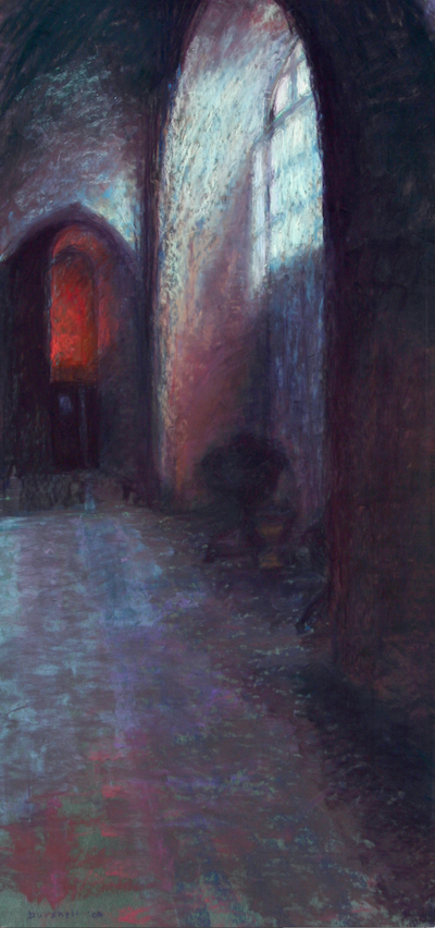 """Sandra Burshell, """"Spiritual Light,"""" 2006, pastel on Wallis sanded pastel paper toned green and dry-mounted to museum mounting board, 34x16 in. Sold"""
