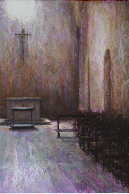 Sandra Burshell, Transcendent Light, 2010, pastel on Wallis sanded pastel paper toned mauve dry-mounted on museum mounted board, 31x22 in, Sold Location: Church in Orvieto, Italy