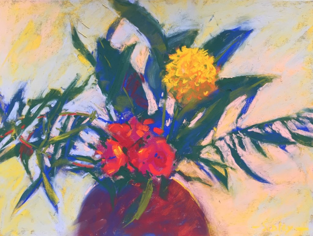 "6. The final work. I added details and played with layering of light colours in the negative space. Gail Sibley, ""Villa Gloria Bouquet,"" Unison pastels plus a couple of Sennelier colours on Pastel Premier 'Italian Clay,' 9 x 12in"