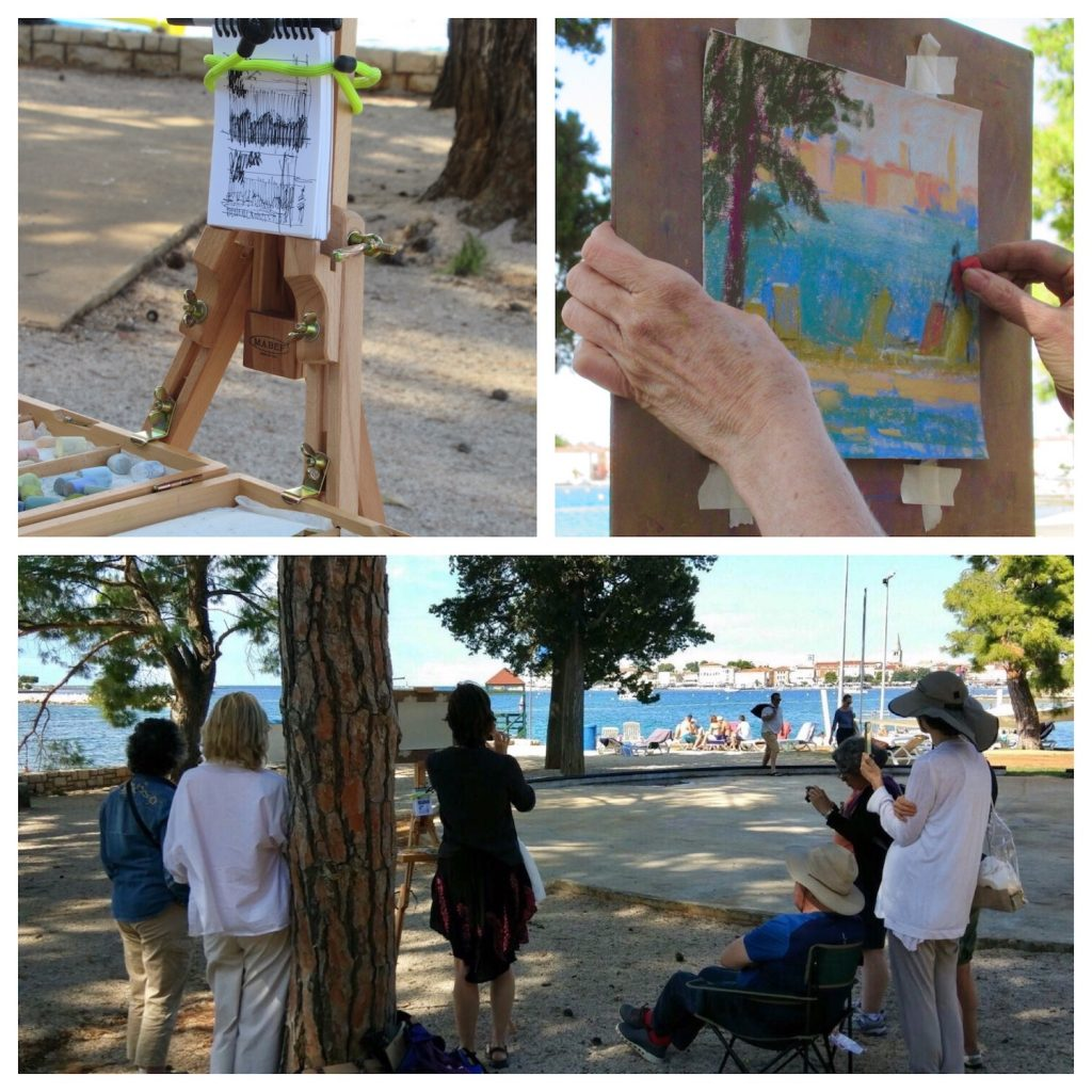 Painting Holiday workshop: Me demoing en plein air in Poreč. Thanks Elaine Benevides for the close-up photos!