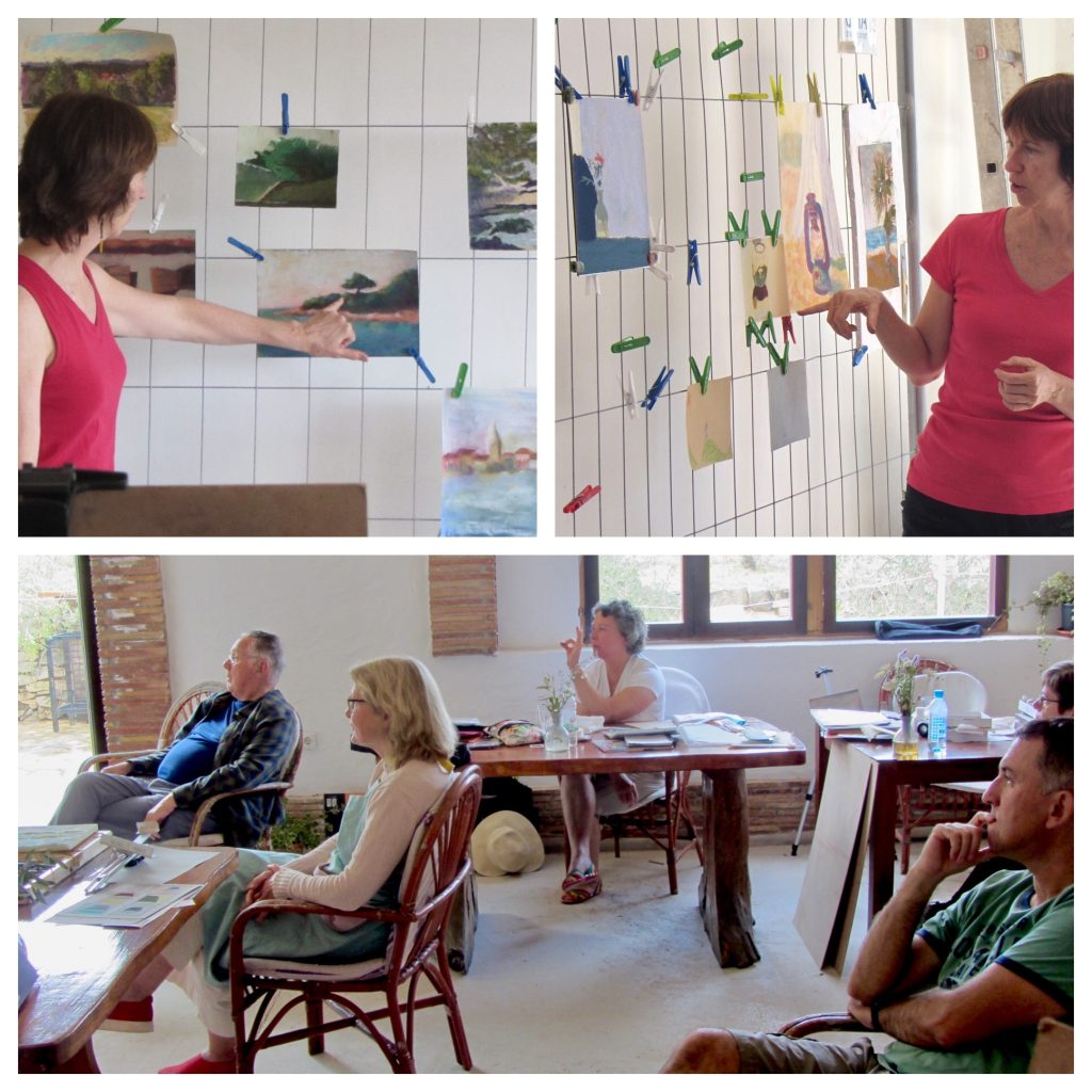 Painting Holiday workshop: Me critiquing student work, and the students critiquing their own work