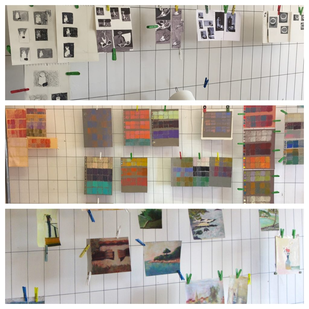 Painting Holiday workshop: Collage of student work including exercises in value, 'magic squares' (layering), and plein air work