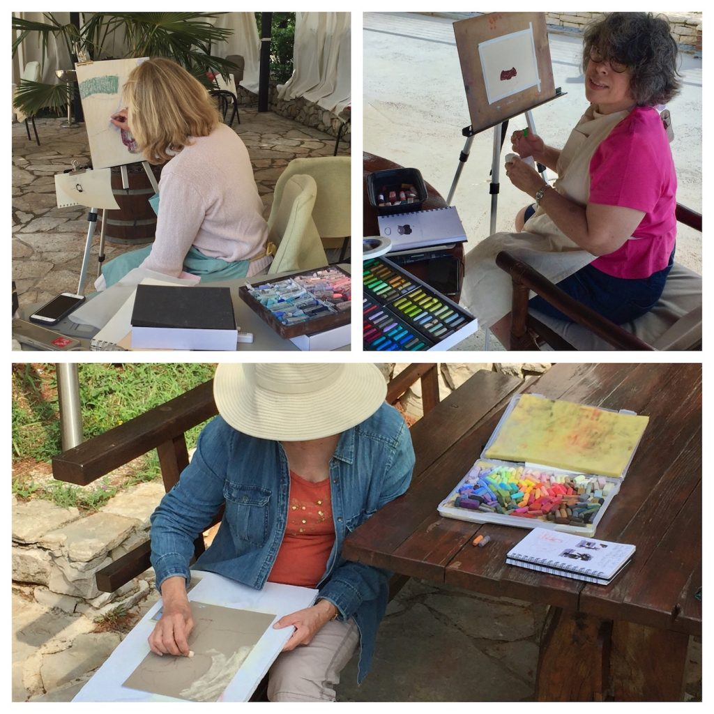 Painting Holiday workshop: Three students (Barbara, Elaine, and Jen) captured painting outside on our final afternoon.