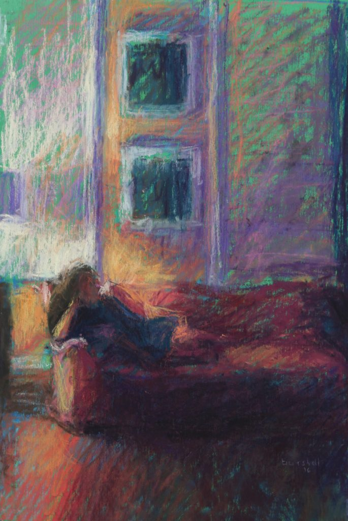 """Sandra Burshell, """"Comfort at Home,"""" 2016, Pastel on sanded pastel paper toned green and dry-mounted to museum mounting board, 10x7 in. Sold"""