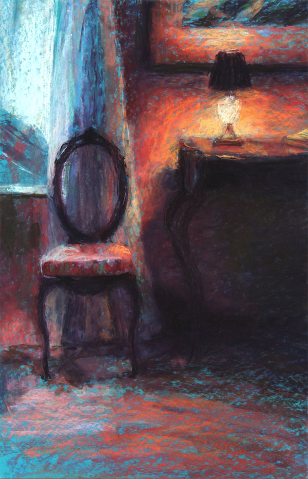 """Sandra Burshell, """"Warm Glow on Chartres,"""" 2012, Pastel on UArt sanded pastel paper toned turquoise and dry-mounted, 30x20 in. Sold"""