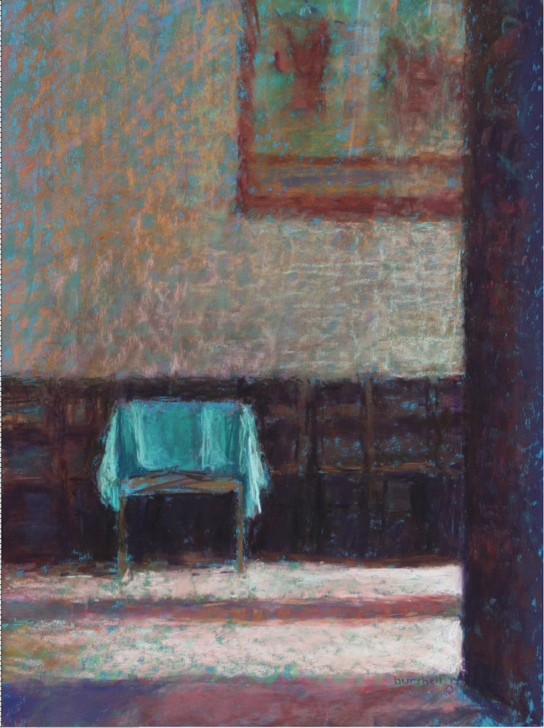 """Sandra Burshell, """"Monastery at Orvieto,"""" 2014, Pastel on UArt 500 grade sanded pastel paper toned turquoise and dry-mounted to museum mounting board, 21x16 in. Sold"""