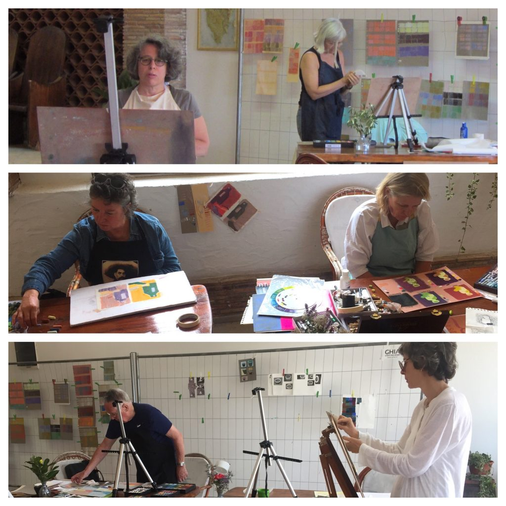 Painting Holiday workshop: Students hard at work! From top to bottom: Elaine & Katy, Jen & Barbara, and Norman & Nathalie.