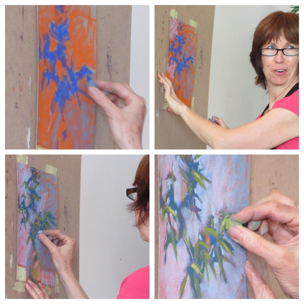 Painting Holiday workshop: Me demoing in studio. Thanks to photos by Elaine Benevides.