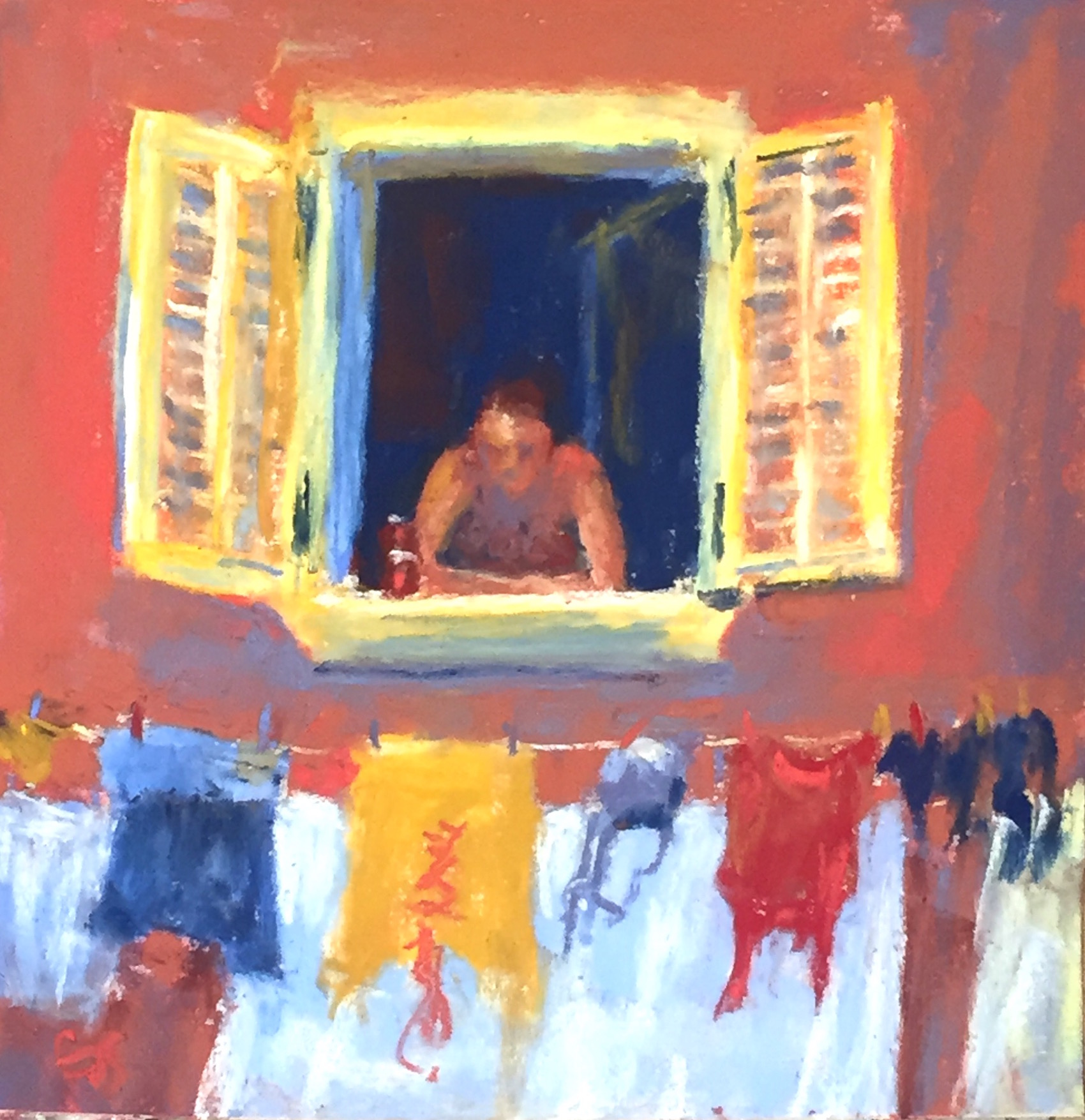 "Work in a series: Gail Sibley, ""Beer and Laundry,"" Unison pastels (from 36-piece starter set) on UART 500 grade paper, 6 x 6 in. Day 4."