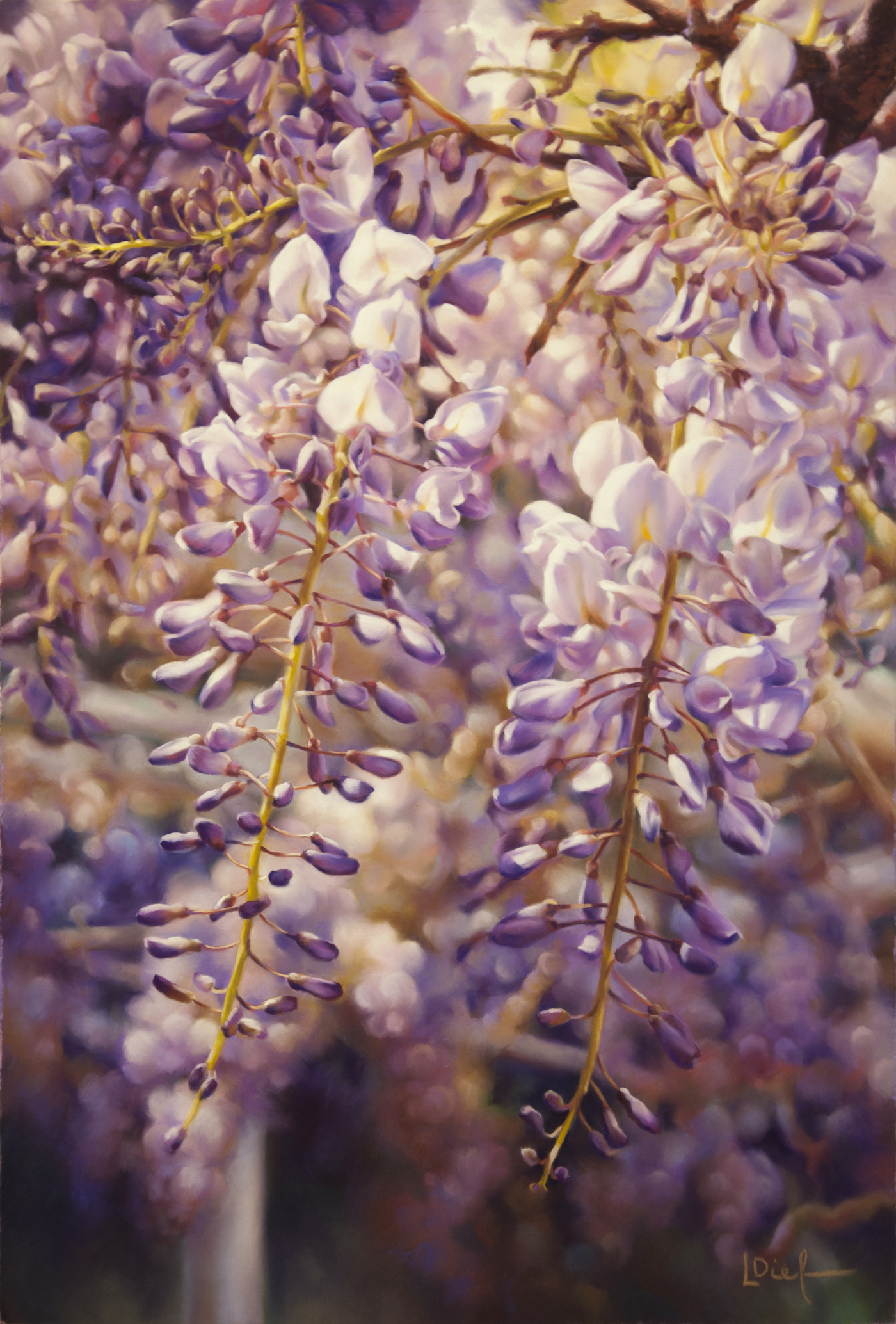 "Lyn Diefenbach, ""Cascading Glory,"" July 2016, Pastel on Fisher 400, 24 x 16 in. Available. Beginning with purple underpainting definitely helped to achieve this work."