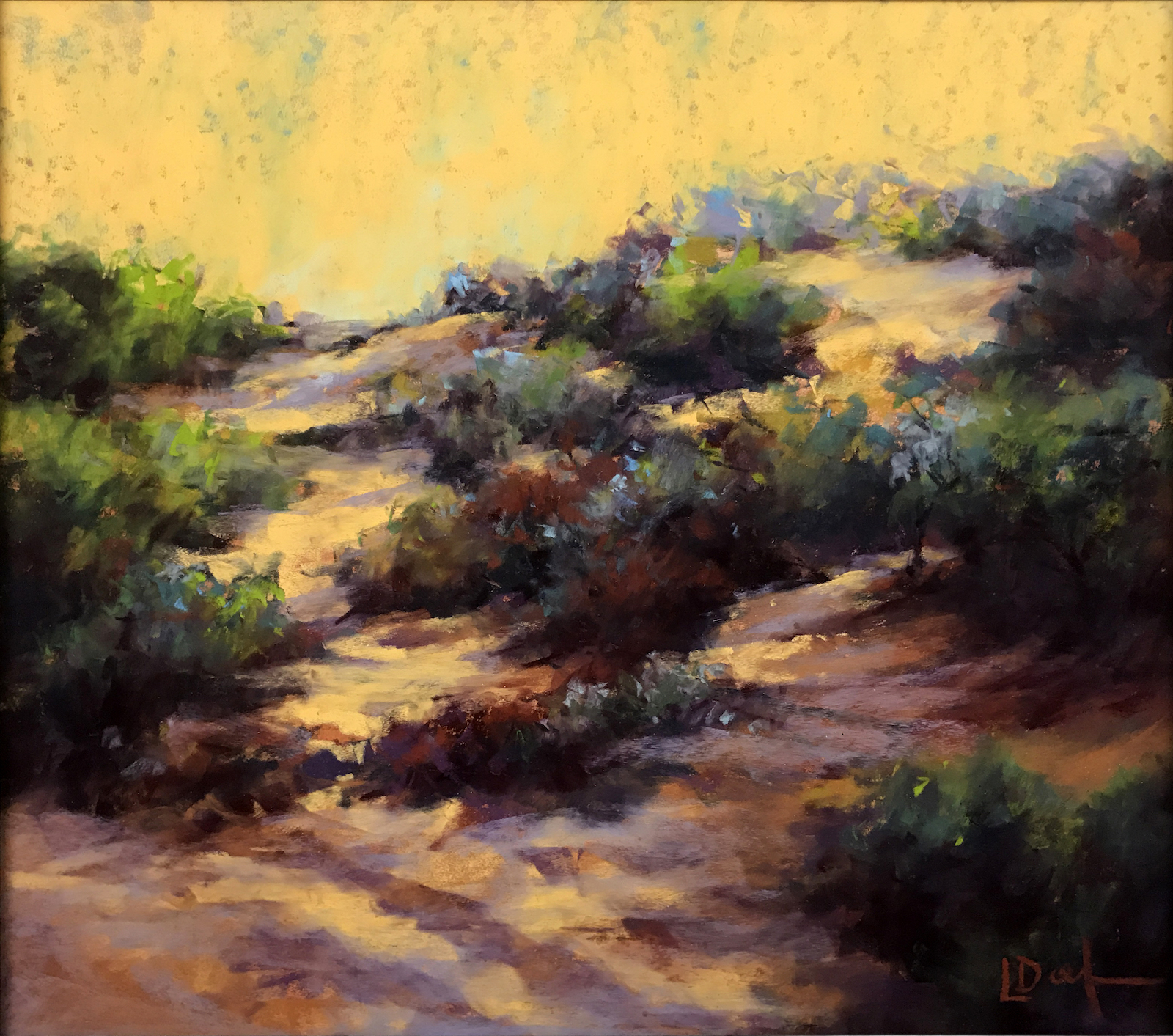 """Lyn Diefenbach, """"Colour and Light,"""" May 2017, Pastel on Fisher 400, 9 x 17 in, A two hour demonstration to show the importance of reading value relationships correctly while using heightened colour. Available."""