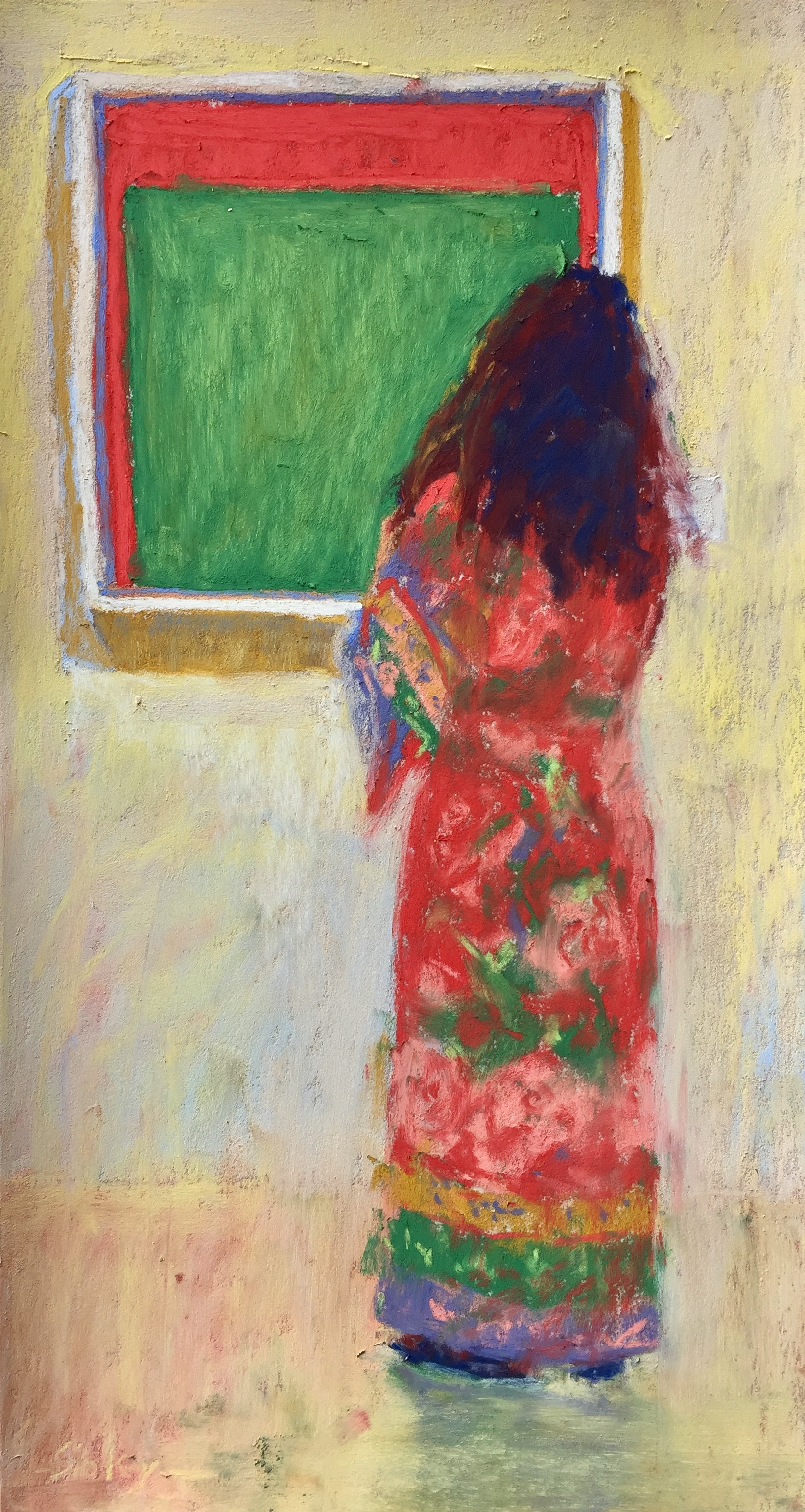 """Doing the Work: Day 20 - """"Green Red Duo,"""" Unison pastels (from 36-set) on UART 500, 12 x 6 1/2 in."""
