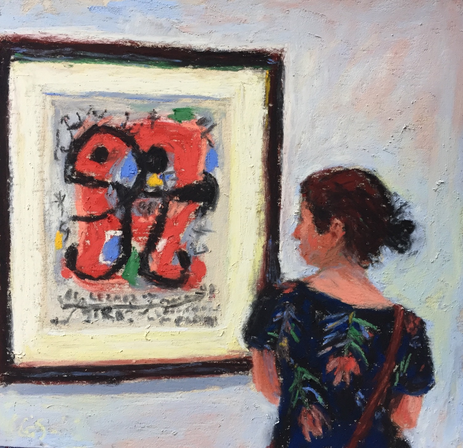 """Doing the work: Day 21 """"Pondering Miro,"""" Unison pastels on UART 500 paper, 6 x 6 in"""