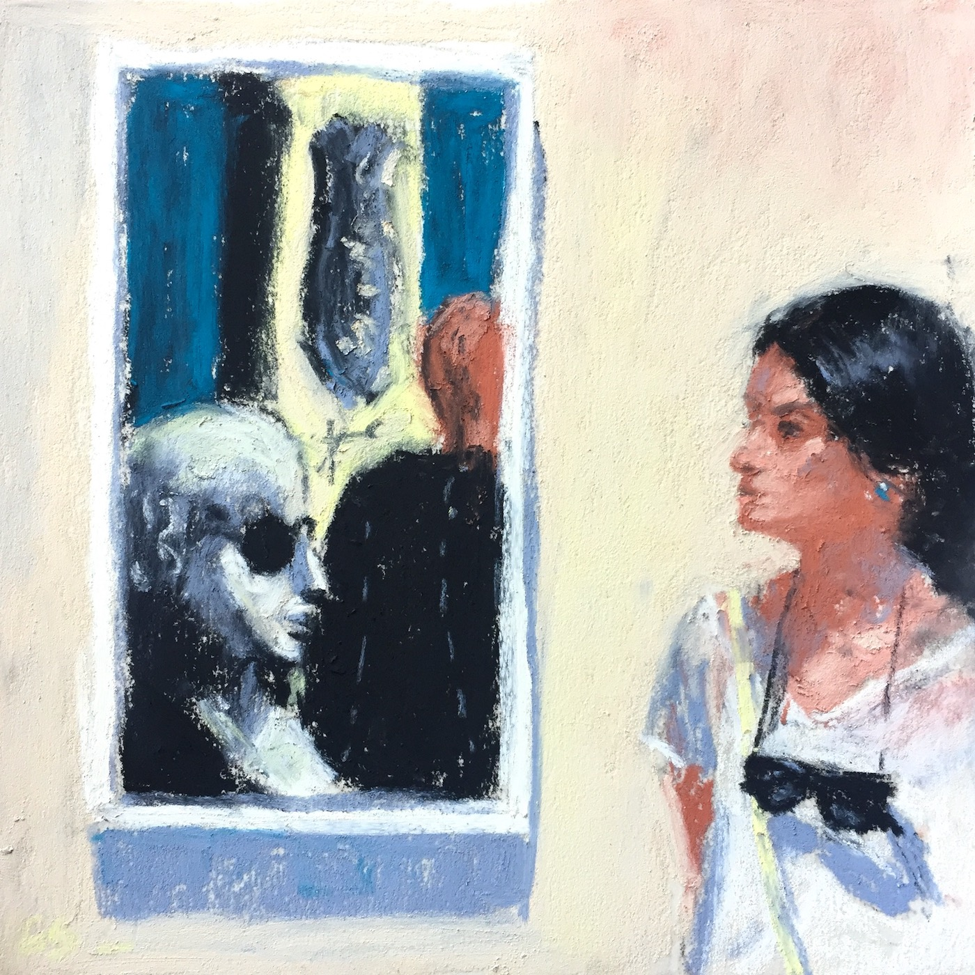 """Doing the Work: Day 22 """"Eye To Eye With de Chirico,"""" Unison pastels on UART 600, 6 x 6 in"""