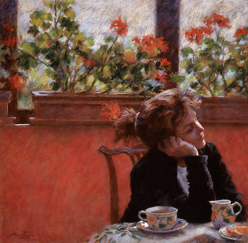 """September's Splendid Pastels: Gwenneth Barth-White, """"Tea and Geraniums,"""" pastel, 20 x 20 in"""