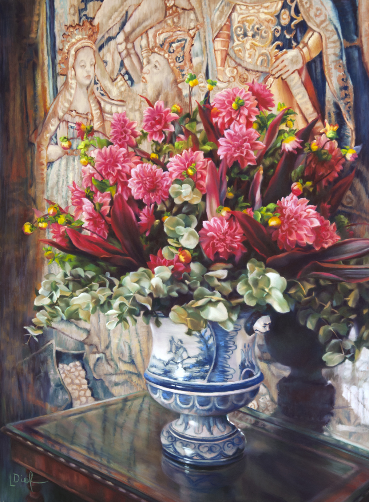 "Lyn Diefenbach, ""In the Light of History,"" Jan 2017, Pastel on Fisher 400, 24 x 18 in. Sold. Various trips across France and the UK gave me inspiration to include mediaeval tapestries as a backdrop for still life."