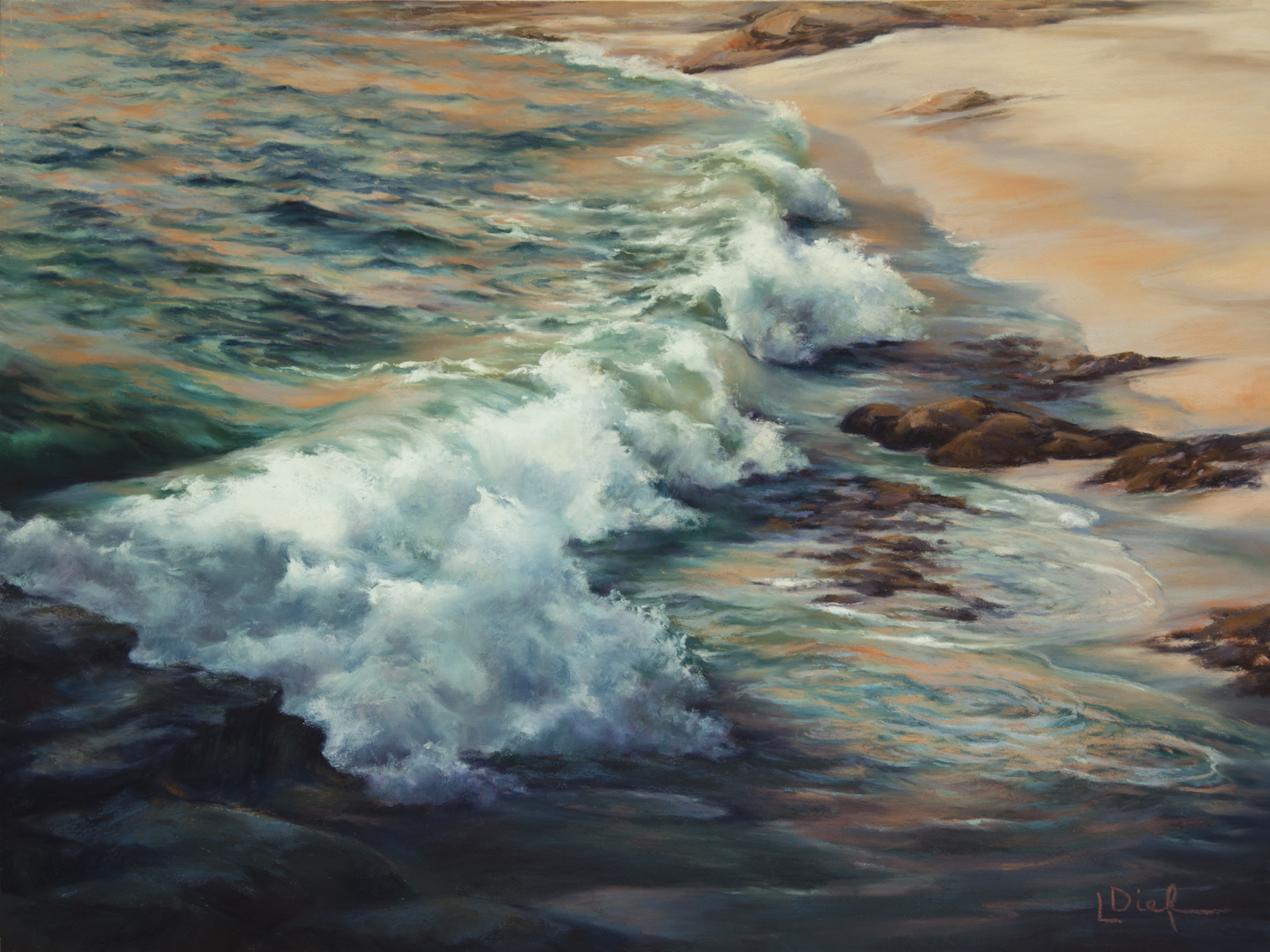 """Lyn Diefenbach, """"Last Light,"""" Feb 2016, Pastel on Ampersand Pastelbord, 18 x 30 in. Sold. Colour and action – what could be better?"""