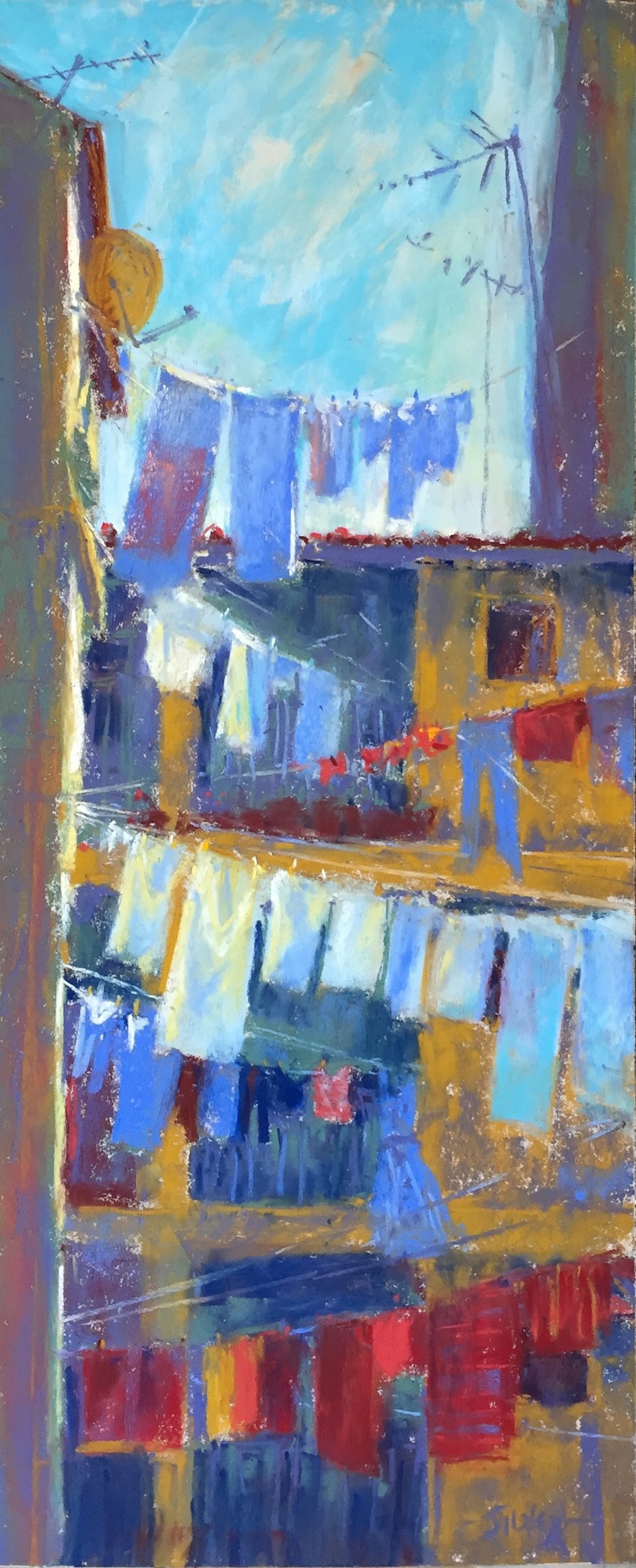 "Work in a series: Gail Sibley, ""Laundry Day in Pula,"" Unison pastels (from 36-piece starter set) on UART 400 grade paper, 18 x 7 1/2 in. Day 3."