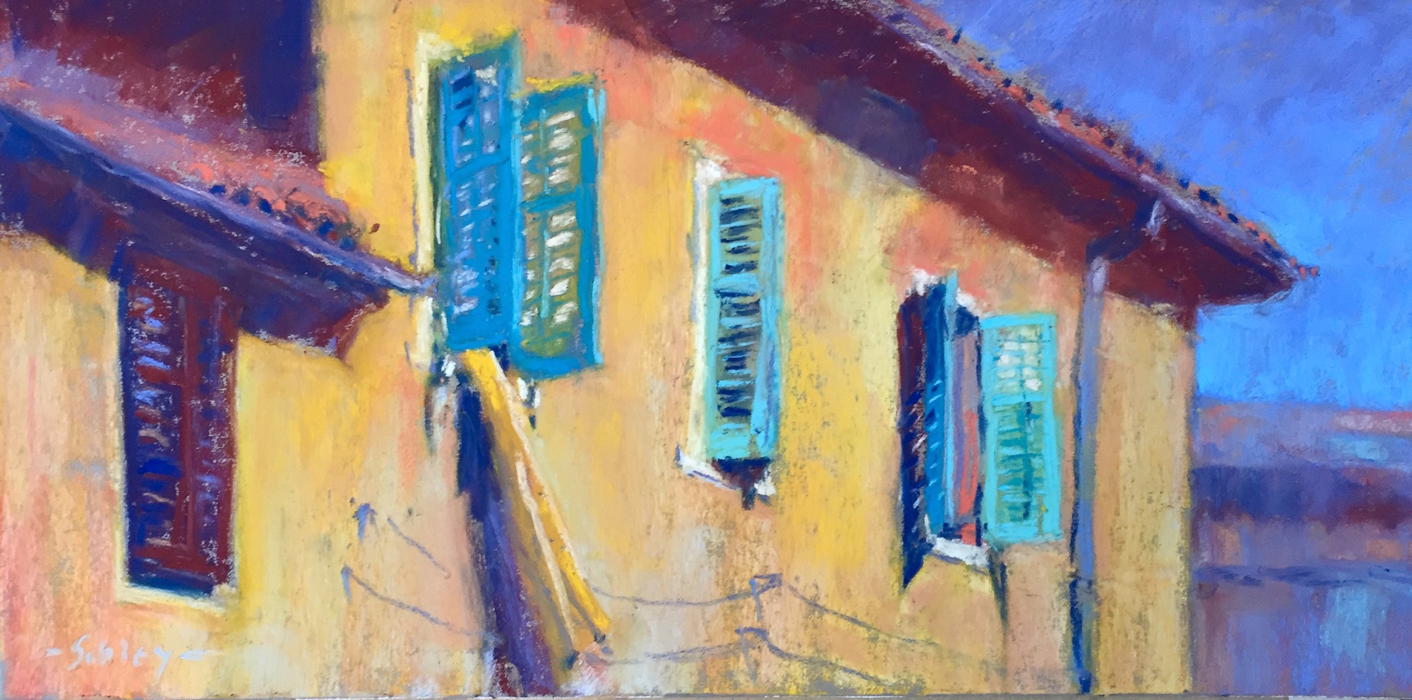 "Work in a series: Gail Sibley, ""Laundry in Pula,"" Unison pastels (from 36-piece starter set) on Pastel Premier paper 'Italian Clay,' 6 x 12 in. Day 1 of 31-in-31."