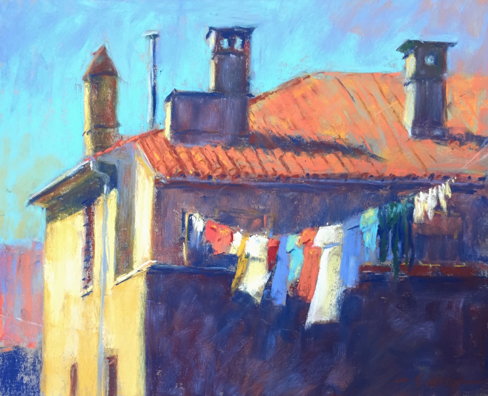 "Work in a Series: Gail Sibley, ""Pula Rooftop,"" Unison pastels (from 36-piece starter set) on Pastel Premier paper 'Italian Clay', 10 x 12 in. Day 2 of 31-in-31"