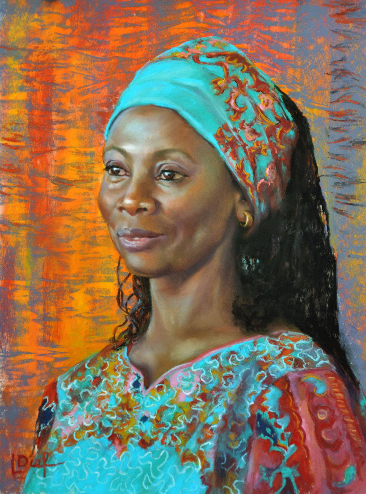 """Lyn Diefenbach, """"Radiant Poise,"""" Dec 2015, Pastel on UART 600, 17 x 13 in. Available. his portrait started as an experiment of underpainting with extremely bright colours. I used reds and oranges which I then had to bring under control. I was in a quandary as to what to do with the background. Somewhere in the source photo I found a scrap of cloth with zebra stripes in its design, Aha! I thought."""
