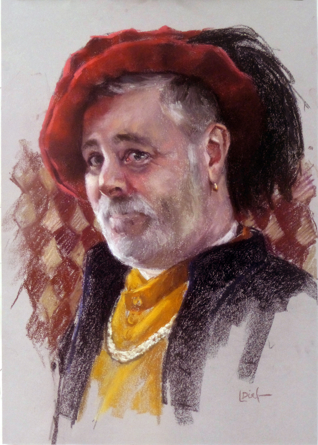 """Lyn Diefenbach, """"Stirling Castle Guide,"""" April 2016, Pastel on Canson Mi-Teintes, 22 x 15 in. Sold. A brief demonstration that successfully captured the character."""
