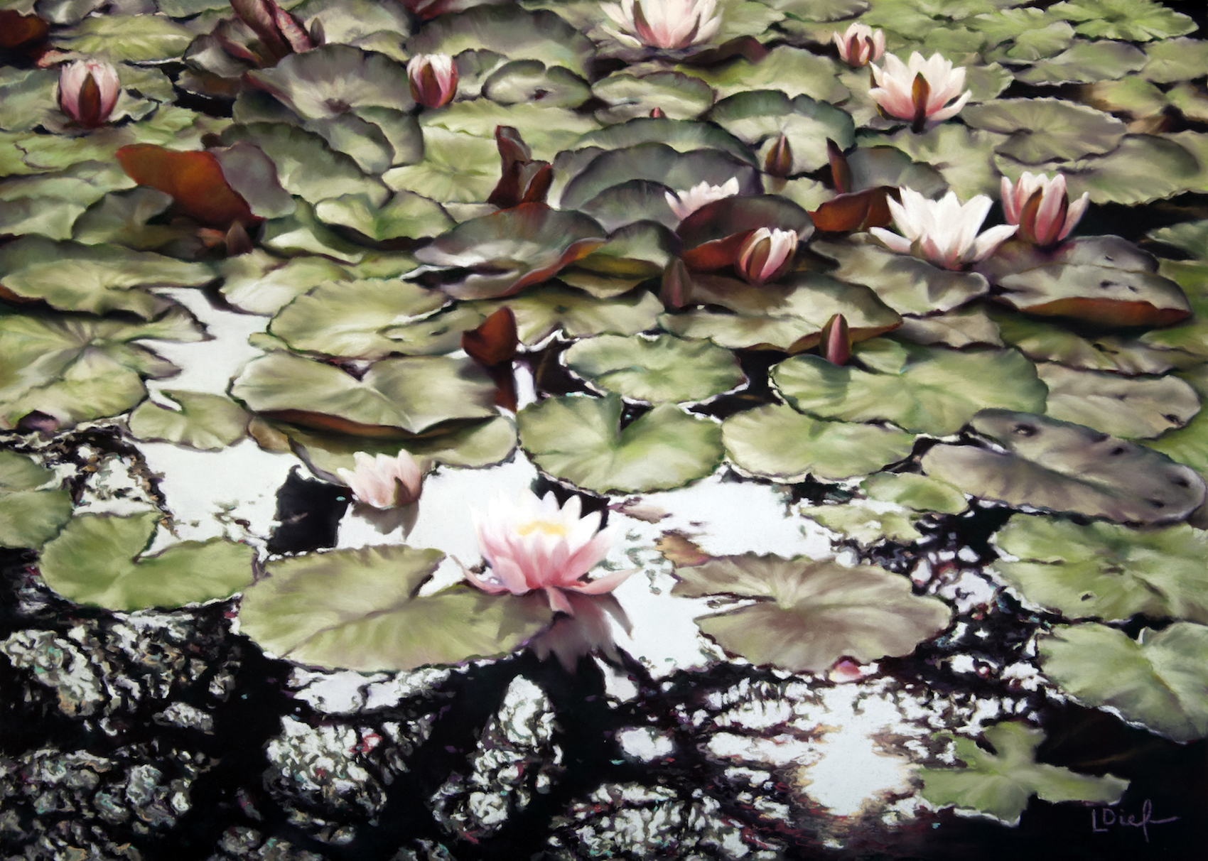 """Lyn Diefenbach, """"Upon Reflection,"""" Oct 2016, Pastel on Fisher 400, 19 x 27 in. Sold. I'm captivated by reflections wherever they turn up."""