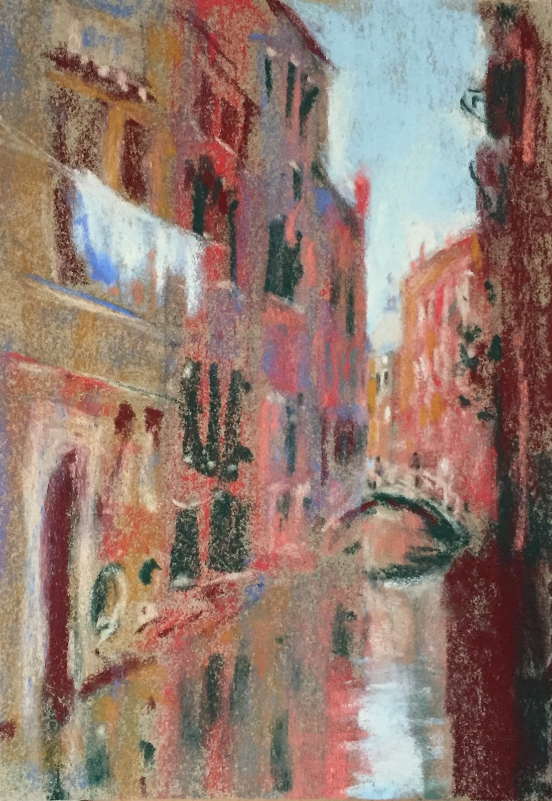 "Work in a series: Gail Sibley, ""Venice View with Laundry,"" Unison pastels (from 36-piece starter set) on Sennelier LaCarte paper, 9 1/2 x 6 1/2 in. Day 8 of 31-in-31."