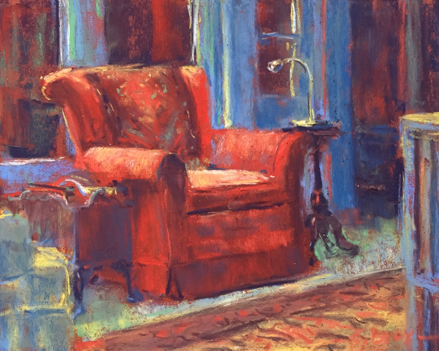 "small box of pastels: Gail Sibley, ""Her Chair,"" Unison pastels on Pastel Premier terracotta, 8 x 10 in. SOLD"