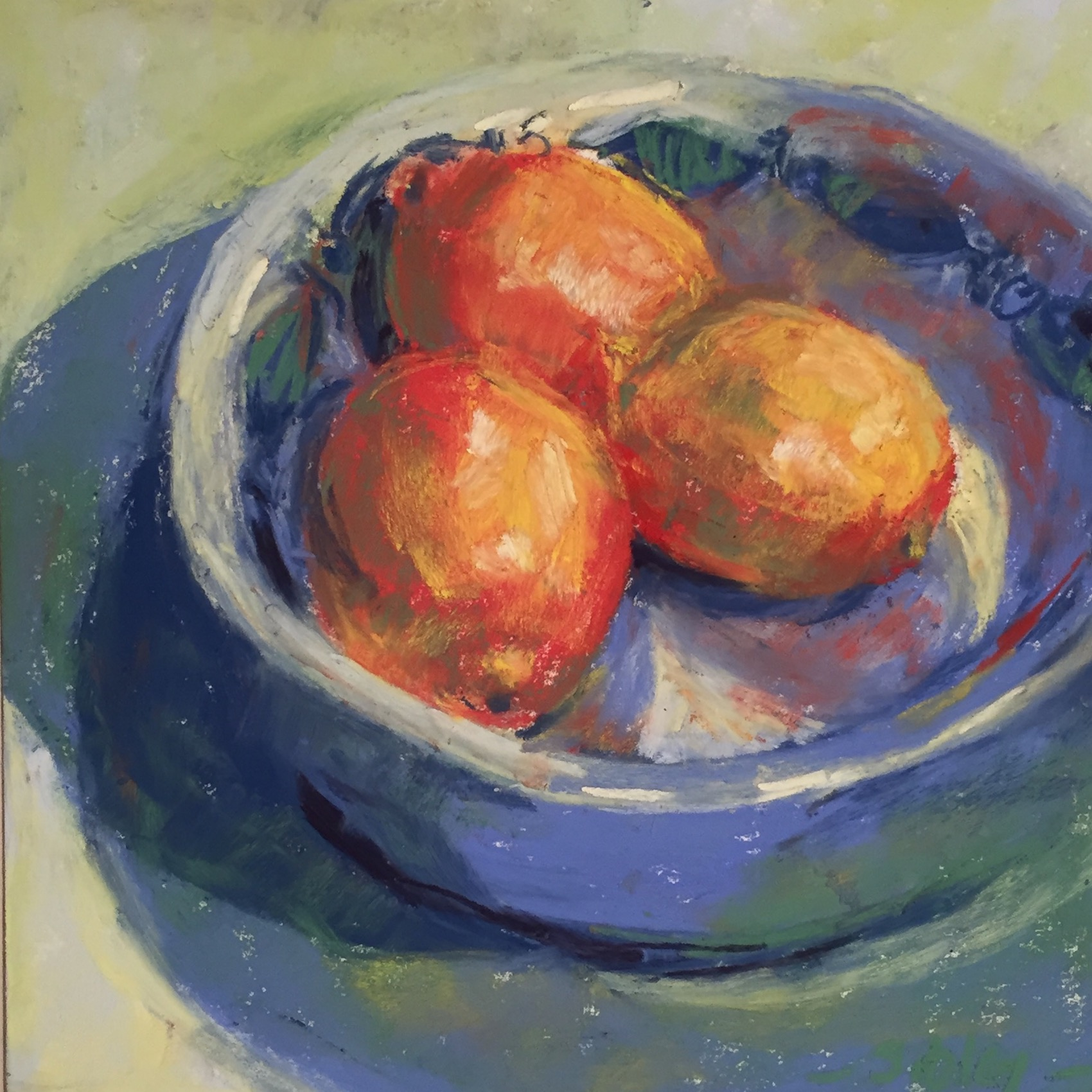 "small box of pastels: Gail Sibley, ""She Loved Lemons,"" Unison pastels on Pastel Premier paper (white), 8 x 8 in. SOLD"
