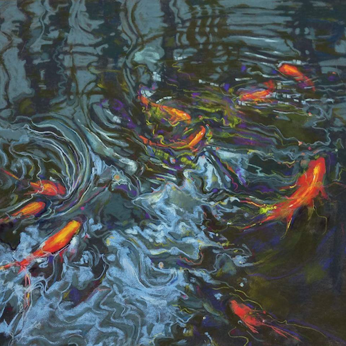 """October's outstanding pastels: Eileen Casey, """"Just Being Koi,"""" pastel on Anthracite Pastelmat, 14 x 14 in"""