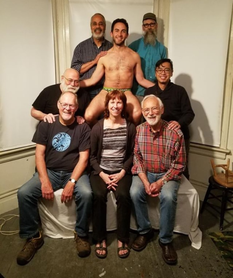 Some of the members of Gay Men's Sketch - from lower left clockwise - Leif, Mark, Burton, Jason (our model), Dan, Gary, and Duane.