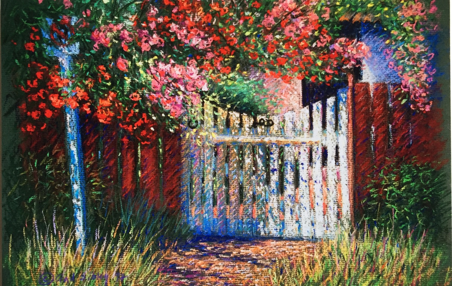 """Finding Your Style: Gail Sibley, """"Garden Gate,"""" c. 1996, pastel on mat board, approx 16 x 20 in"""