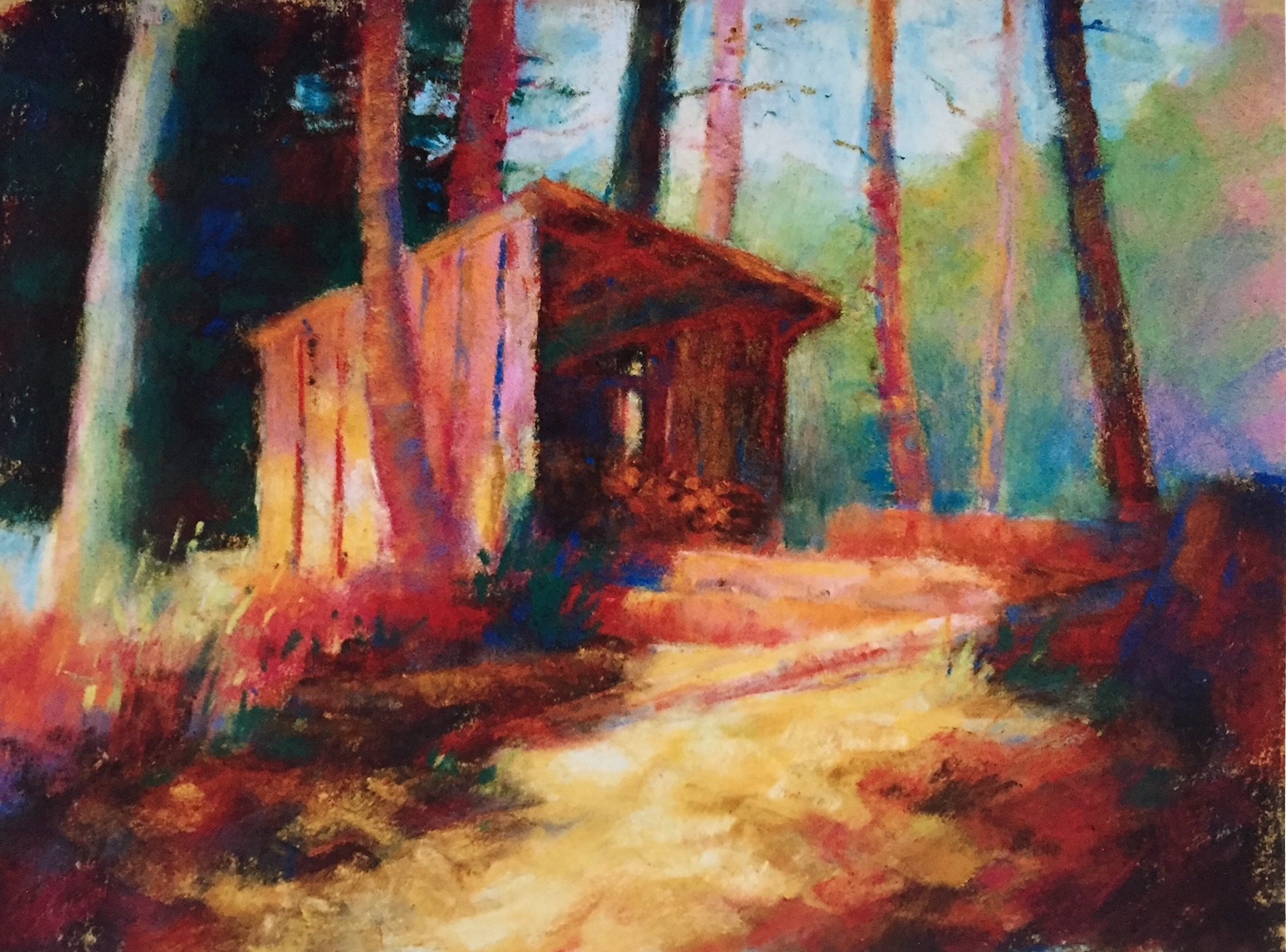 """Finding Your Style: Gail Sibley, """"Wood Shed,"""" c. 2004, pastel on Wallis paper, 9 x 12 in"""