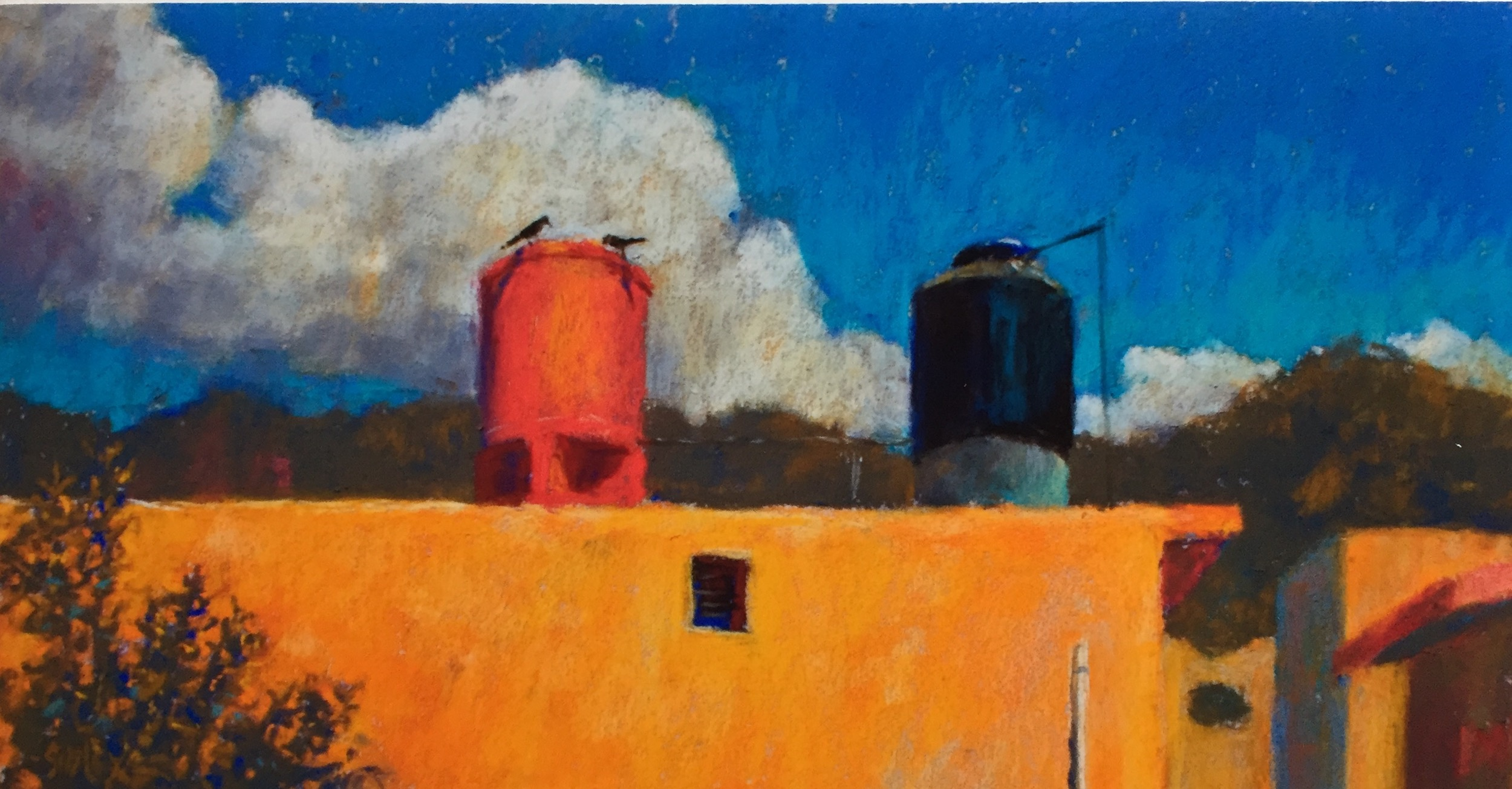 """Finding Your Style: Gail Sibley, """"Birds on the Water Tank,"""" Unison pastels on UART 320 paper"""