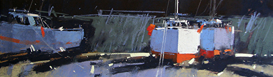 "Tony Allain, ""Low Tide Porthleven,"" pastel, 10 x 34 in"