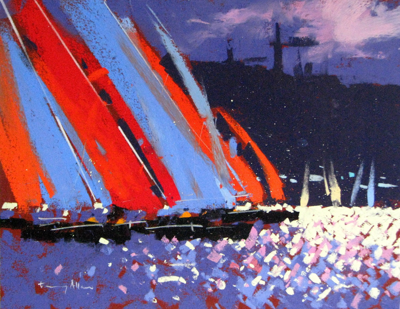 "Tony Allain, ""Racing,"" pastel on Colourfix paper, 14 x 10 in"
